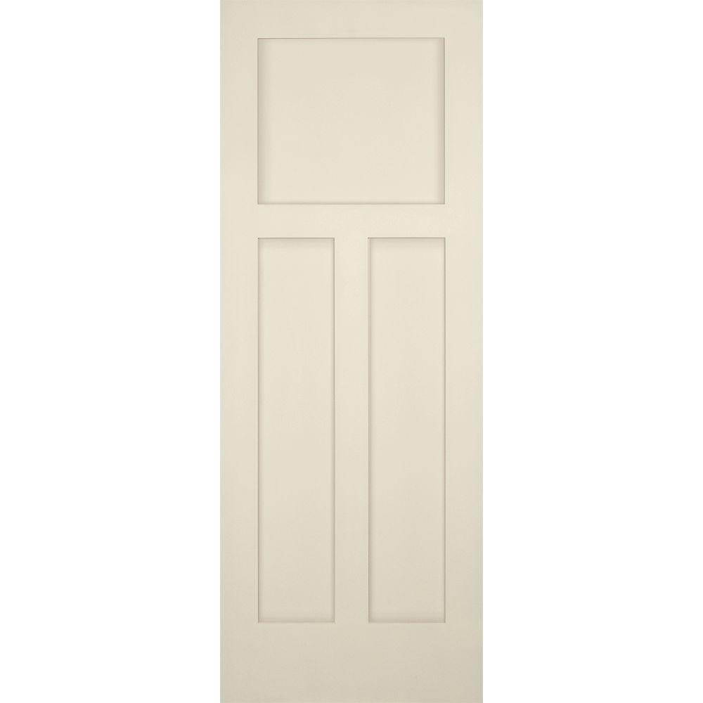 Builders Choice 30 in. x 80 in. 3-Panel Craftsman Solid Core ...