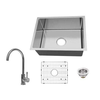 All-in-One Undermount 18-Gauge Stainless Steel 23 in. Single Bowl Kitchen Sink with Gooseneck Kitchen Faucet