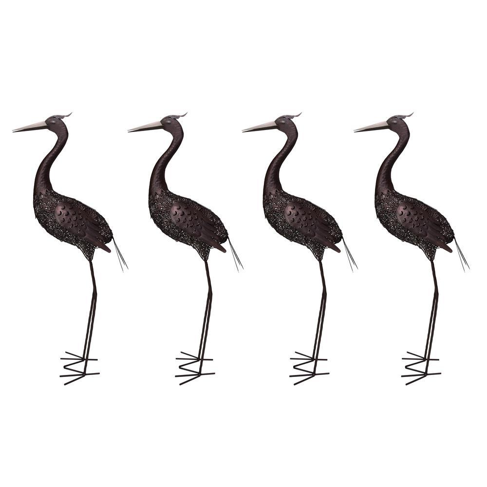 Steel Indoor/Outdoor Animal Garden Crane Metal Bird Sculpture Statue With  Solar