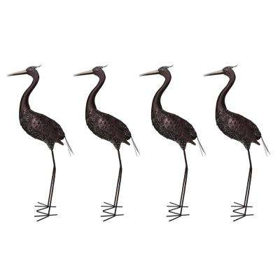 40 in. Steel Indoor/Outdoor Animal Garden Crane Metal Bird Sculpture Statue with Solar Light (4-Pack)