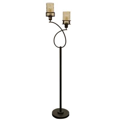 68 in. Bronze Floor Lamp with Amber Glass Shade