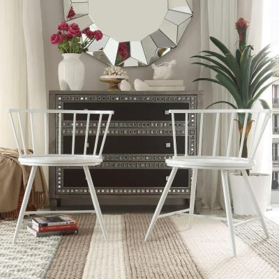 Walker White Wood and Metal Low Back Dining Chair (Set of 2)