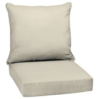 Sand Canvas Texture 2-Piece Deep Seating Outdoor Lounge Chair Cushion