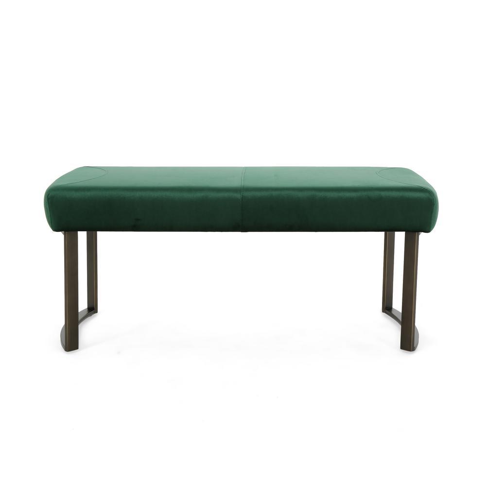 Bestwick Modern Emerald Velvet Bench with Antique Brass Stainless Steel Legs
