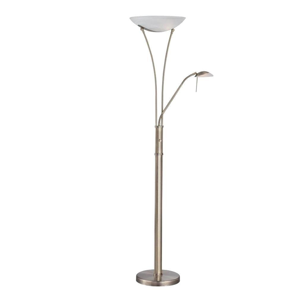 Illumine 70.5 in. Antique Brass Torchiere Lamp with Frosted Glass