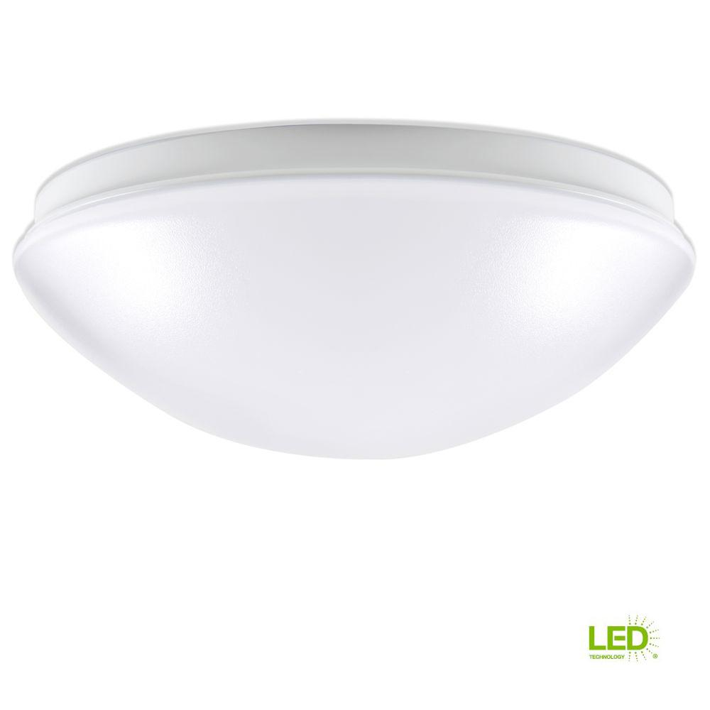 100-Watt Equivalent Low Profile White Integrated LED Round Flushmount Ceiling