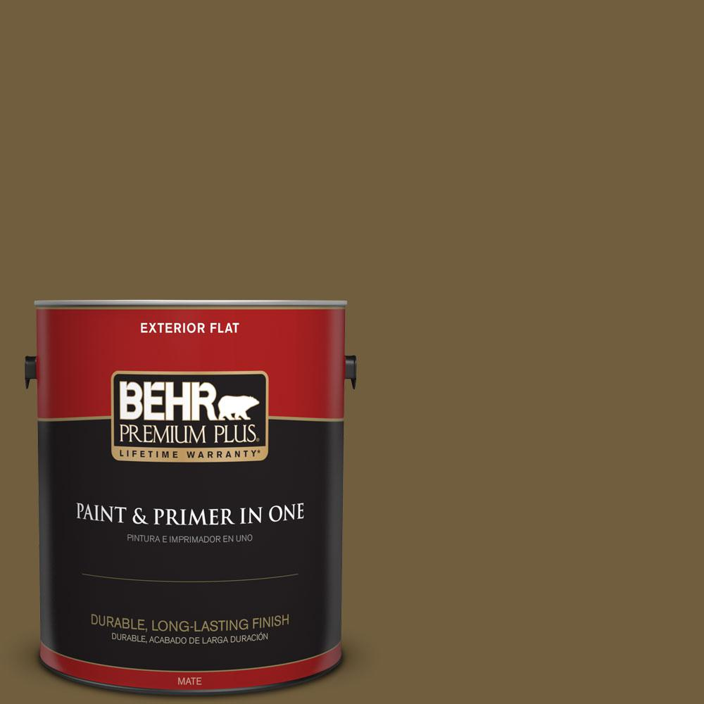 BEHR Premium Plus 1 gal. #360F-7 Olive Shadow Flat Exterior Paint ...