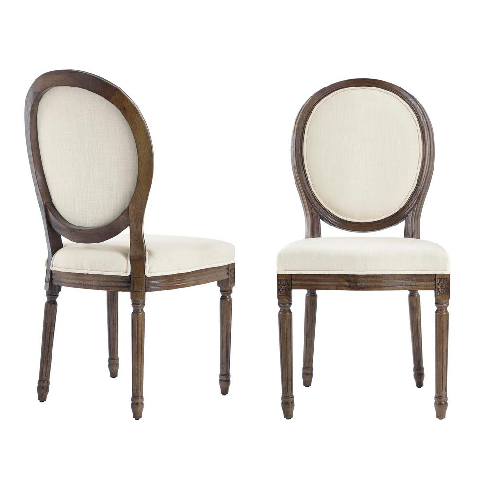 HomeDecoratorsCollection Home Decorators Collection Ellington Haze Wood Upholstered Dining Chair with Rounded Back Ivory Seat (Set of 2) (19 in. W x 38 in. H), Ivory/Haze