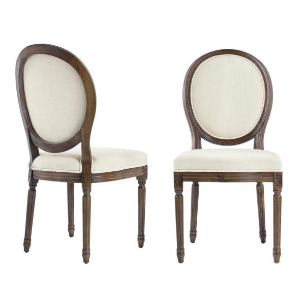 Home Decorators Collection Ellington Haze Wood Upholstered Dining Chair With Rounded Back Ivory Seat Set Of 2 19 In W X 38 In H Pjc685 297004 The Home Depot