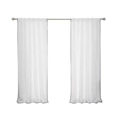 Oxford Outdoor 52 in. W x 84 in. L Small Dove Border Curtains in White (2-Pack)