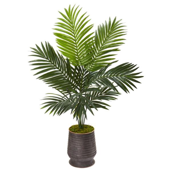 Nearly Natural 46 in. Kentia Artificial Palm Tree in Ribbed Metal