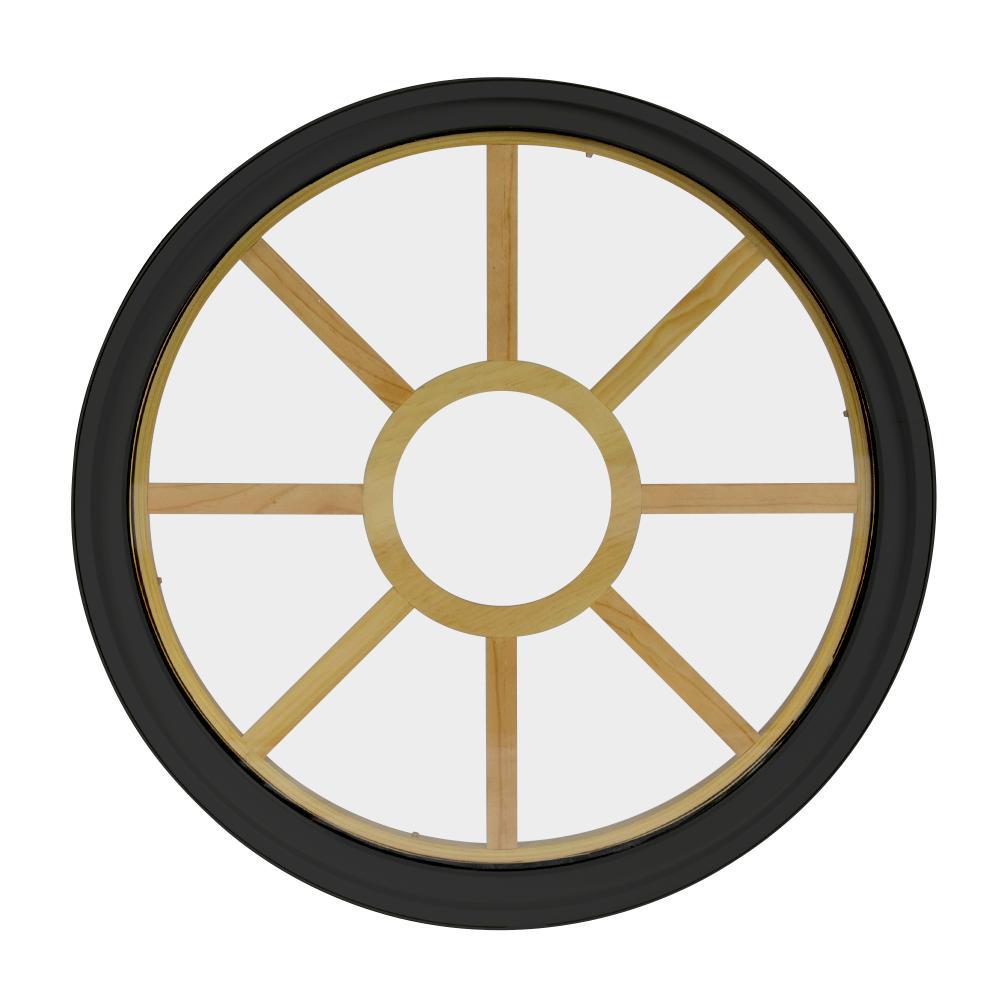 48 in. x 48 in. Round Bronze 4-9/16 in. Jamb 9-Lite Grille Geometric Aluminum Clad Wood Window