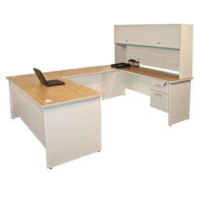 8 ft. 6 in. W x 6 ft. D Putty and Chalk U-Shaped Desk with Flipper Door Unit