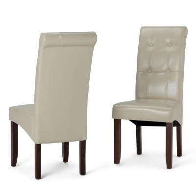 Cosmopolitan Contemporary Deluxe Tufted Parson Chair (Set of 2) in Satin Cream Faux Leather