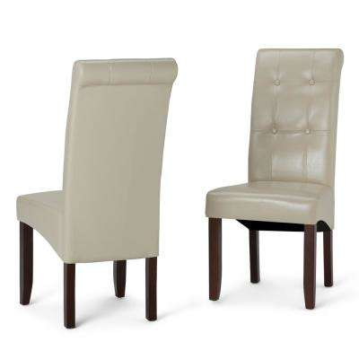 Cosmopolitan Satin Cream Faux Leather Parsons Dining Chair (Set of 2)