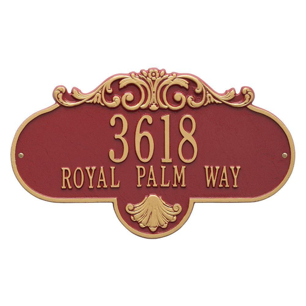 Whitehall Products Oval Rochelle Grande Red/Gold Wall 2-Line Address Plaque