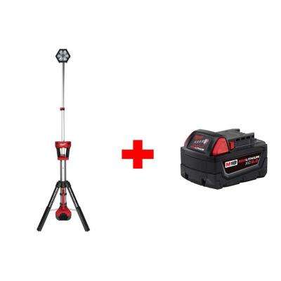M18 18-Volt Lithium-Ion Cordless Rocket LED Stand Light with Free 5.0Ah Battery