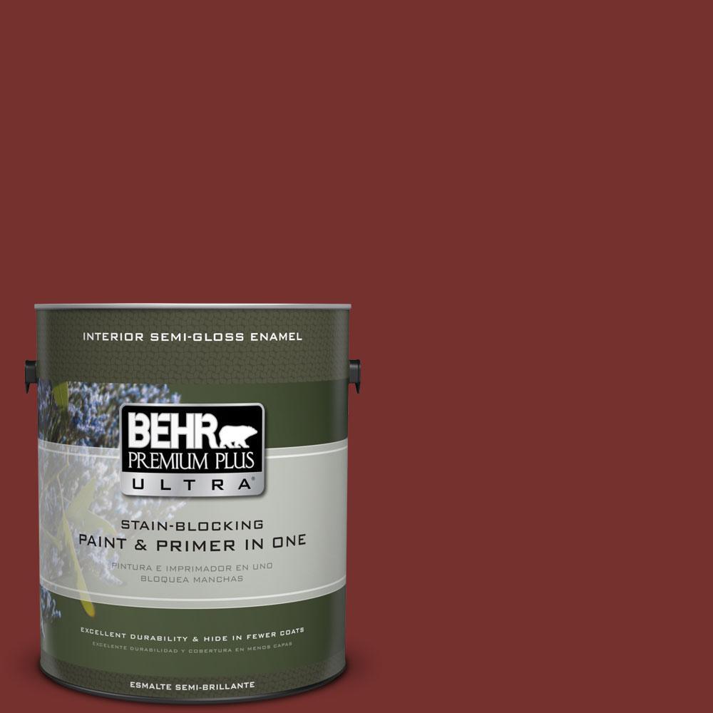 BEHR Premium Plus Ultra 1-gal. #ECC-15-3 Cherry Bark Semi-Gloss Enamel Interior Paint