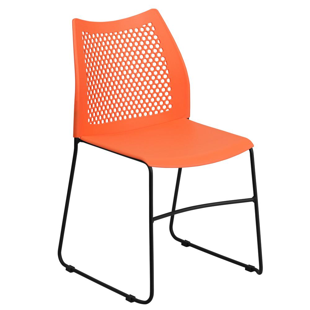 Flash Furniture Hercules Series 661 Lb. Capacity Orange Sled Base Stack  Chair With Air