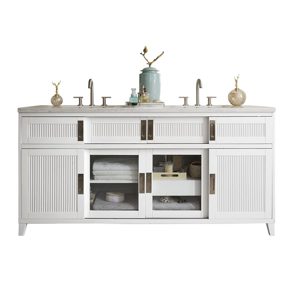 James Martin Vanities Brisbane 72 in. W Double Vanity in Bright White with Marble Vanity Top in Carrara White with White Basin