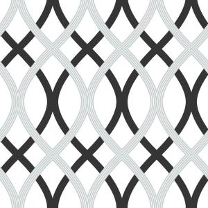 30.75 sq. ft. Black and Silver Lattice Peel and Stick Wallpaper