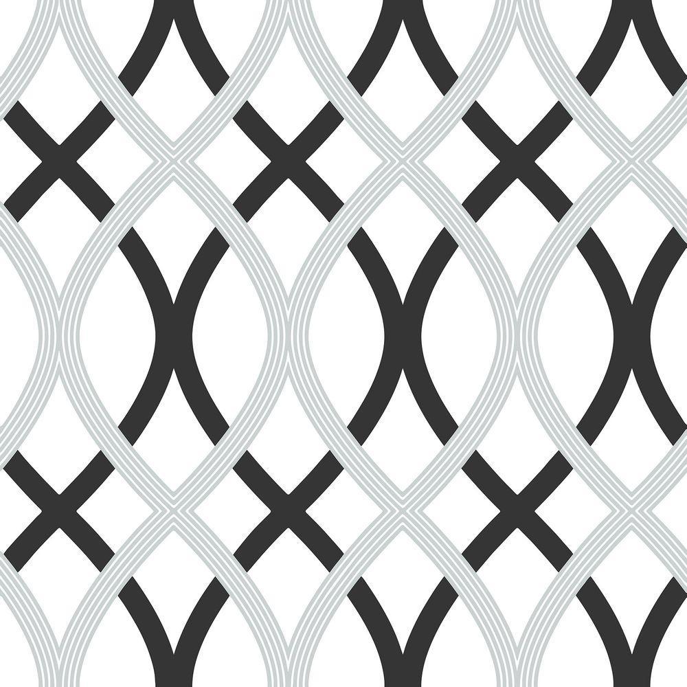 30.75 sq. ft. Black and Silver Lattice Peel and Stick Wallpaper