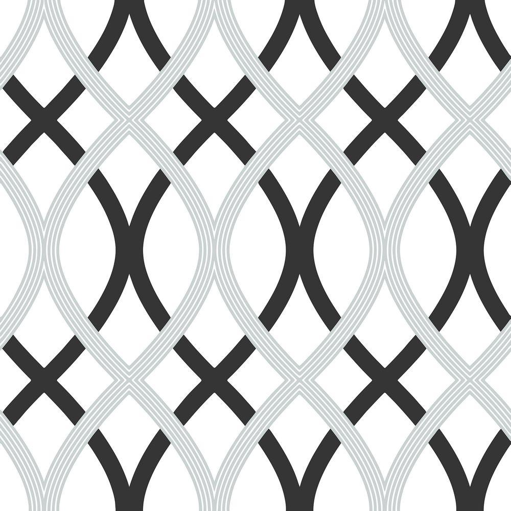 Nuwallpaper black and silver lattice peel and stick for Peel n stick wallpaper