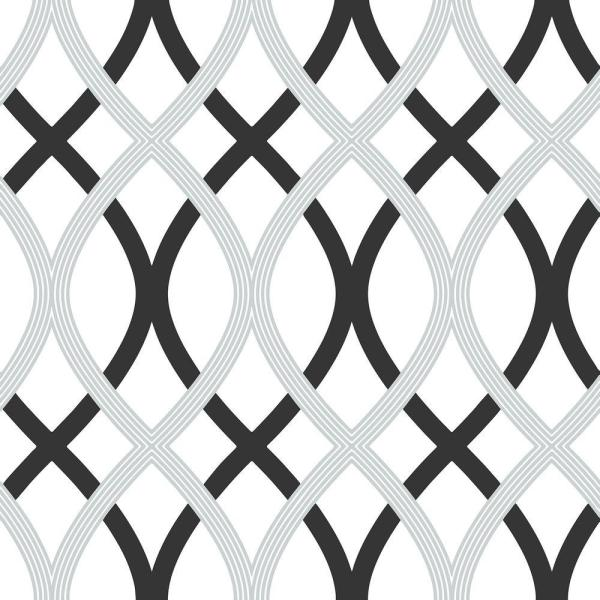 Black and Silver Lattice Vinyl Strippable Wallpaper (Covers 30.75 sq. ft.)