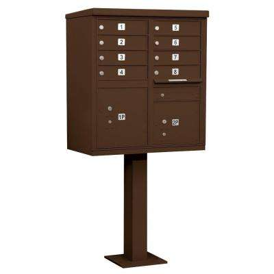 Bronze USPS Access Cluster Box Unit with 8 A Size Doors and Pedestal