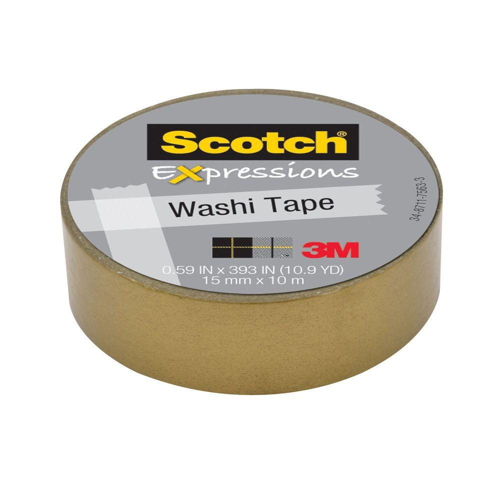Scotch 0.59 in. x 10.9 yds. Gold Expressions Washi Tape (Case