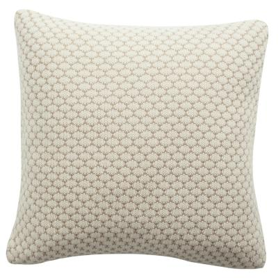 Sweet Knit Natural and Stone Solid Polyester 20 in. x 20 in. Throw Pillow
