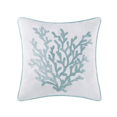 Cove White and Blue Geometric Hypoallergenic Down Alternative 18 in. x 18 in. Throw Pillow