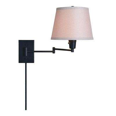1 Light Oil Rubbed Bronze Swing Arm Lamp With Fabric Shade LED Bulb