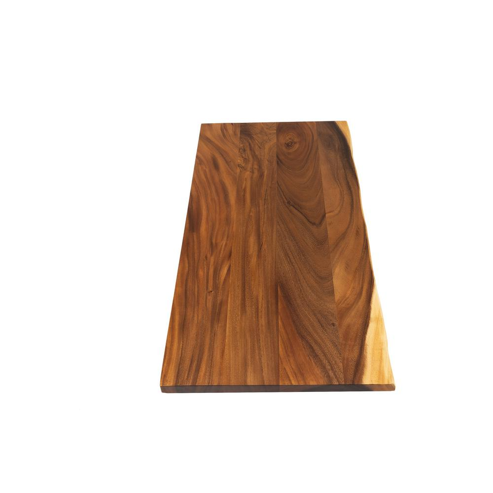 Hardwood Reflections 4 ft. 2 in. L x 2 ft. 1 in. D x 1.5 in. T Butcher Block Countertop in Oiled Acacia with Live Edge