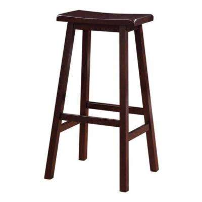 Saddle 29 in. Dark Brown Bar Stool