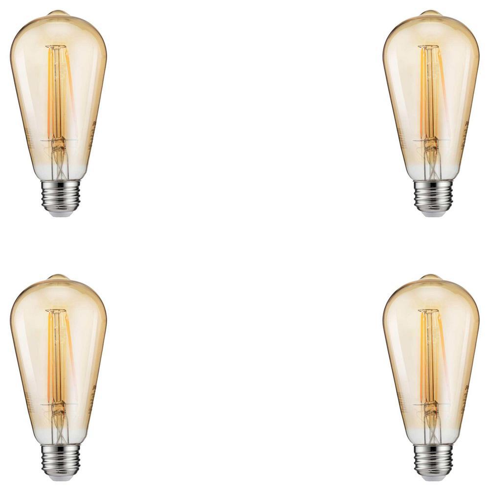 40-Watt Equivalent ST19 Dimmable Indoor/Outdoor Vintage Glass Edison LED Light Bulb Amber Warm White (2200K) (4-Pack)