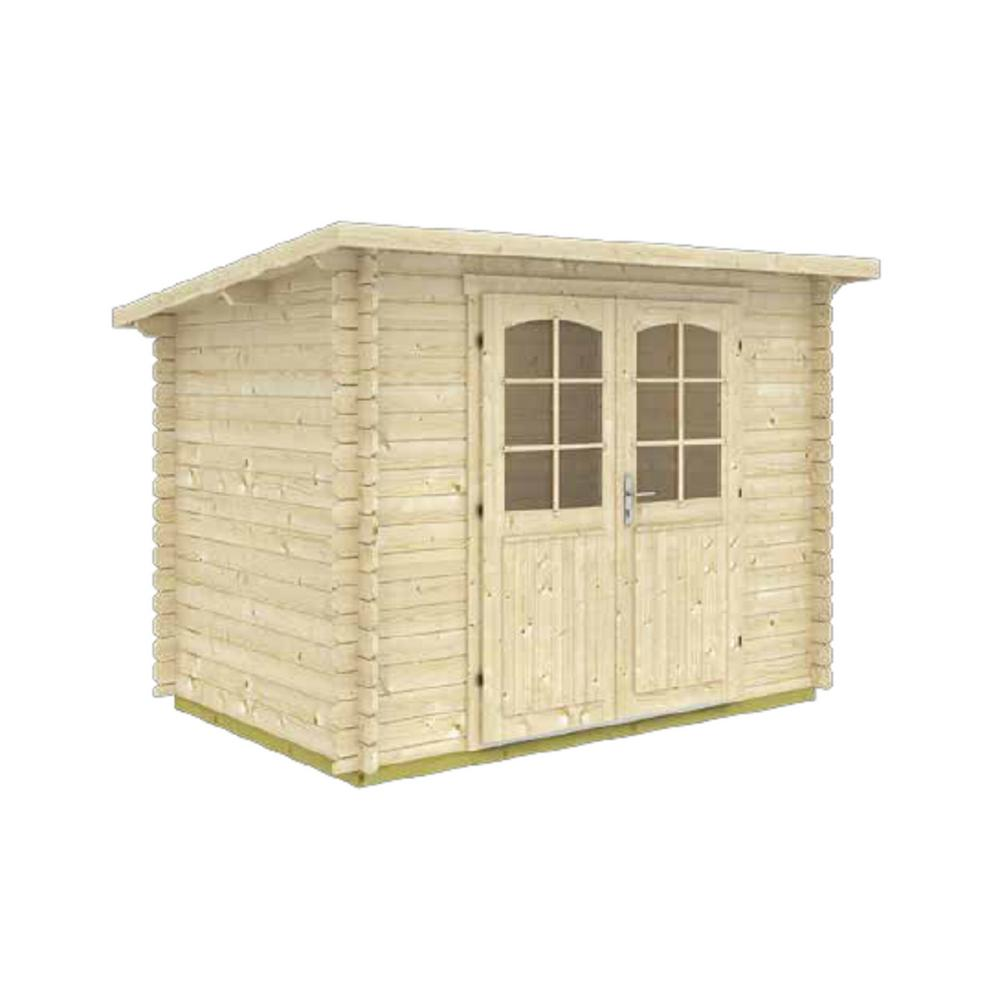 EZ Log Structures Gloria A 9 ft  8 in  x 6 ft  5 in  Modern Low Slope Log  Garden House Storage Building Kit