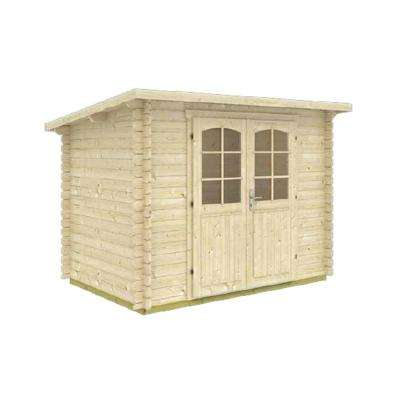 Gloria A 9 ft. 8 in. x 6 ft. 5 in. Modern Low Slope Log Garden House Storage Building Kit