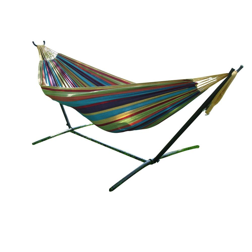 double cotton hammock with stand in tropical uhsdo9 20   the home depot vivere 9 ft  double cotton hammock with stand in tropical uhsdo9      rh   homedepot