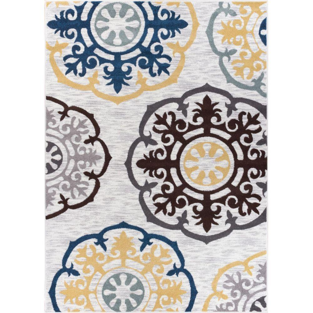 well woven electro felix gold 3 ft 3 in x 4 ft 7 in modern area rug 601214 the home depot. Black Bedroom Furniture Sets. Home Design Ideas