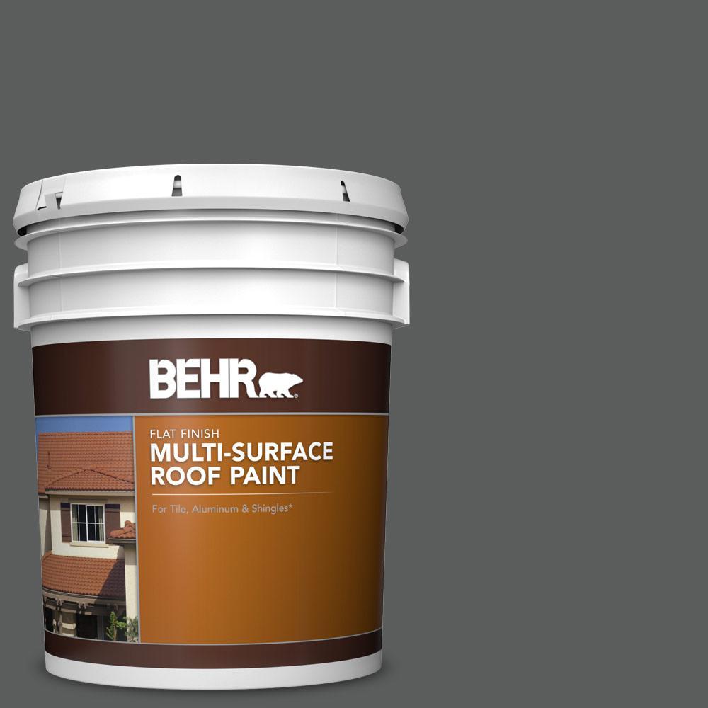 5 gal. #N520-6 Asphalt Gray Flat Multi-Surface Exterior Roof Paint