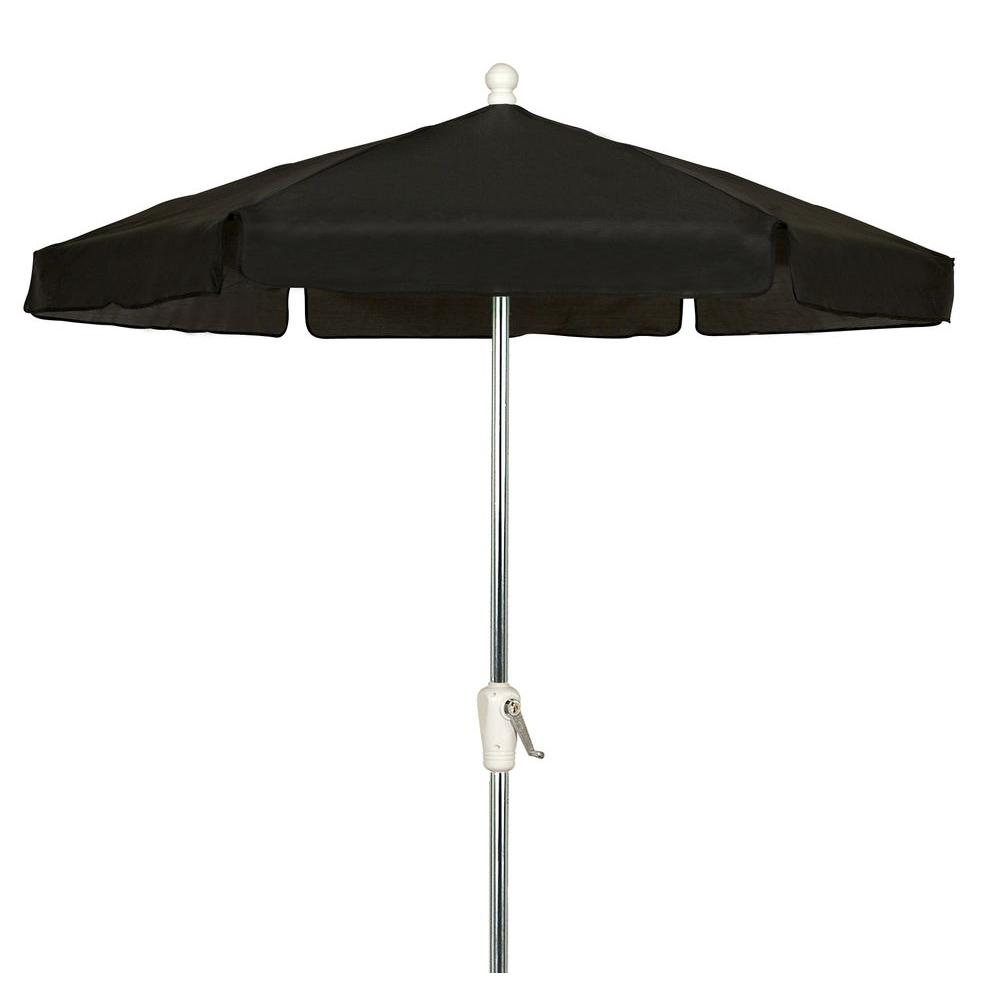 7.5 ft. Hex Garden Patio Umbrella 6 Rib Crank Bright Aluminum in ...