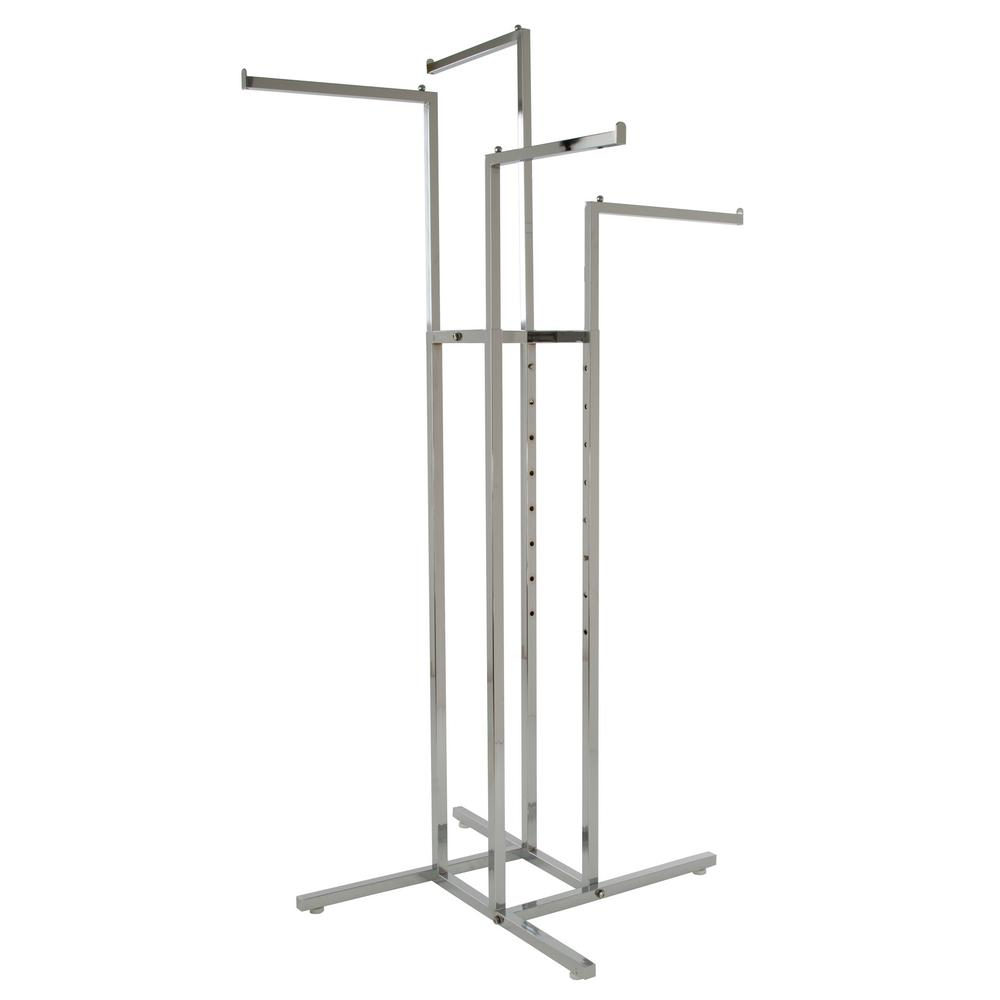 Econoco 32 in. W x 72 in. H Adjustable Height Chrome (Grey) Garment Rack with 4-Straight Arms Econocos 4 arm clothing rack is the premiere clothing rack for store display. This clothing rack has 4 straight arms each 16 in. L with a lip at the end to prevent hangers from sliding off. Each arm is independently adjustable every 3 in. from 48 in. to 72 in. high so the rack can be used for shirts or for long coats. The attractive chrome finish makes it suitable for home use or in any high-end showroom or boutique. The rack is durable and sturdy and includes levelers, but it can also be fitted with casters (sold separately), so it can be moved easily from room to room or different display areas. And while this rack can hold a large amount of hanging clothes, its base is only 32 in. square so it takes up little space in your home or showroom floor. Frame and legs are made of 1 in. square tubing. Inner uprights and arms are made of 0.83 in. square tubing.