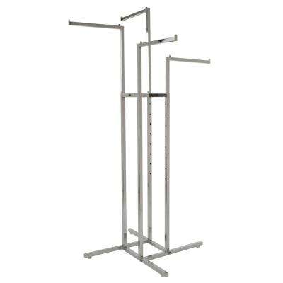 32 in. W x 72 in. H Adjustable Height Chrome Garment Rack with 4-Straight Arms