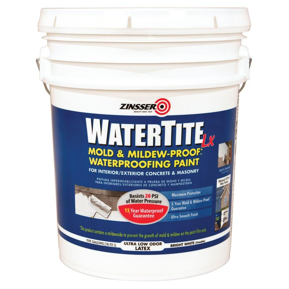 Zinsser 5 Gal. WaterTite LX Low VOC Mold and Mildew-Proof White Water Based Waterproofing Paint