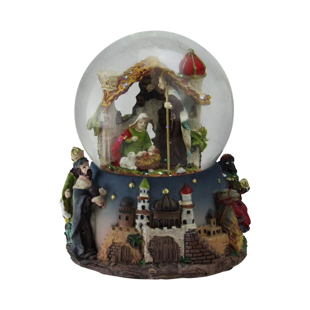 Northlight 5 in. Christmas Nativity Scene Religious Musical Snow Globe Glitterdome Globe interior depicts an exquisitely detailed Nativity scene featuring Mary and Joseph lovingly gazing at their newborn son Jesus accented with iridescent glitter. Base features the 3 Wisemen with their gifts of frankincense myrrh and gold in hand. Winds up and plays in. Silent Night. Recommended for indoor use. Dimensions: 5 in. H x 4.75 in. W x 4.75 in. D. Material(s): glass/resin.