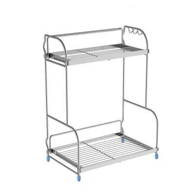 2-Shelf Chrome Storage Rack with 3-Side Hooks