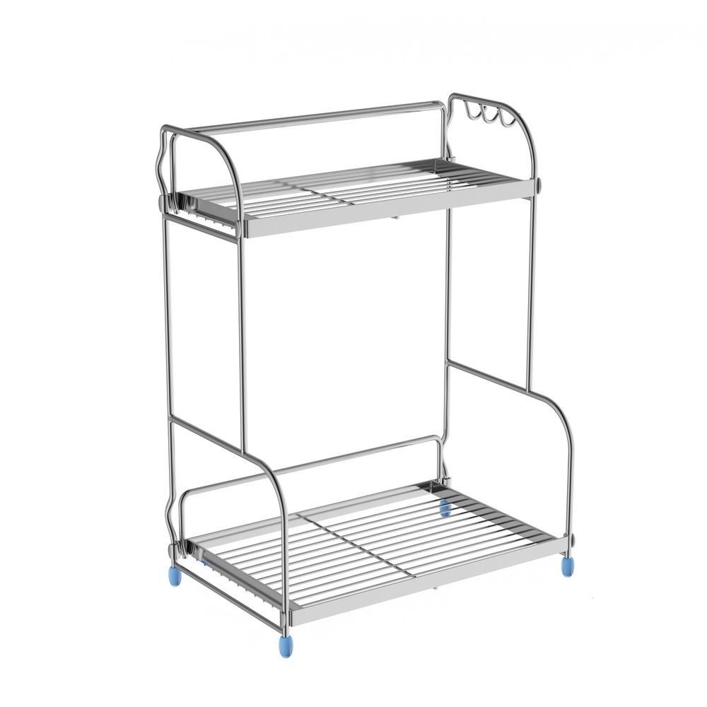 2-Shelf Chrome Storage Rack with 3-Side Hooks
