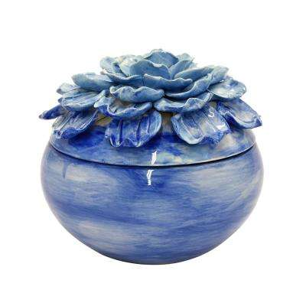 6.25 in. Blue Flower Ceramic Box