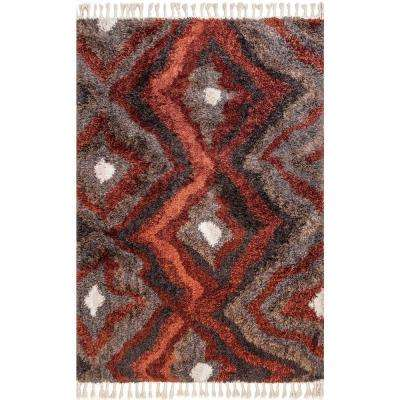 Alexia Abstract Diamond Shaggy Tassel Multi 5 ft. 3 in. x 7 ft. 6 in. Area Rug